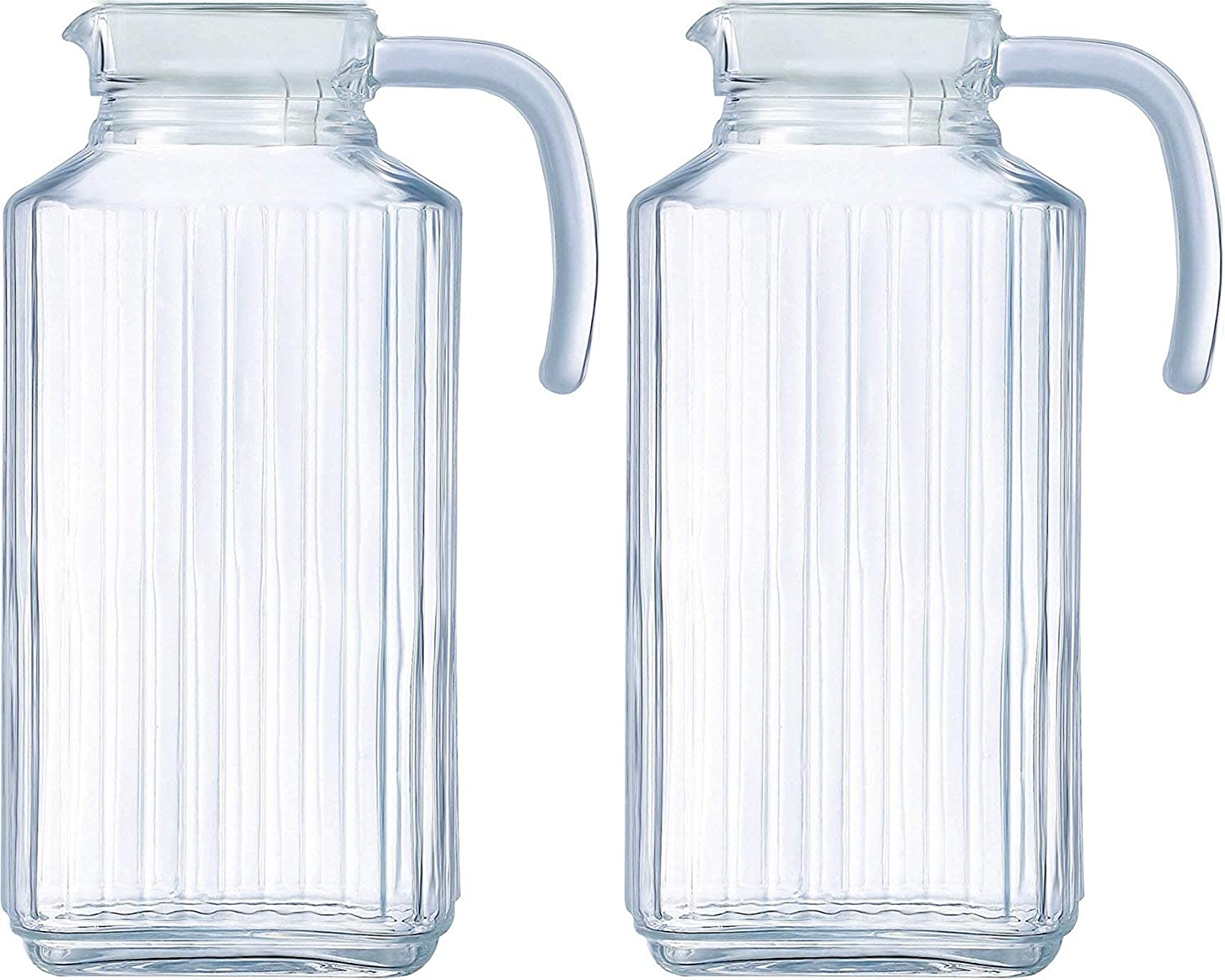 Circleware Frigo Ribbed Set of 2 Glass Pitchers with Lid and Handle, 8 Cup Everyday Water Carafe Beverage Dispenser Drink Glassware for Beer, Wine Liquor & Drinking Gifts, 63.4 oz, 2-pc