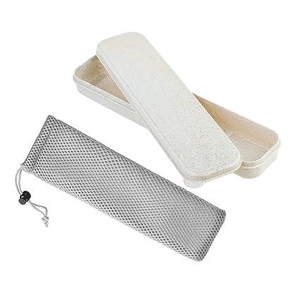 Caja de almacenamiento para cubiertos, caja de almacenamiento portátil con bolsa de red para cubiertos