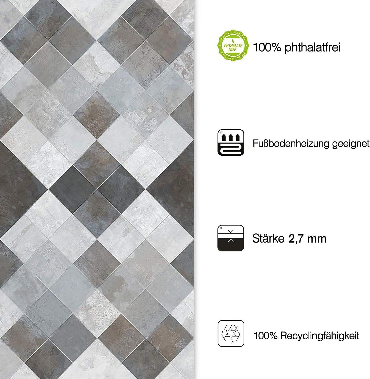 casa pura/® CV Bodenbelag Toscana Aqua edle Steinoptik 100x250 cm gesch/äumt Oberfl/äche strukturiert extra abriebfester PVC Bodenbelag - Naturstein Marmor Mosaik Meterware
