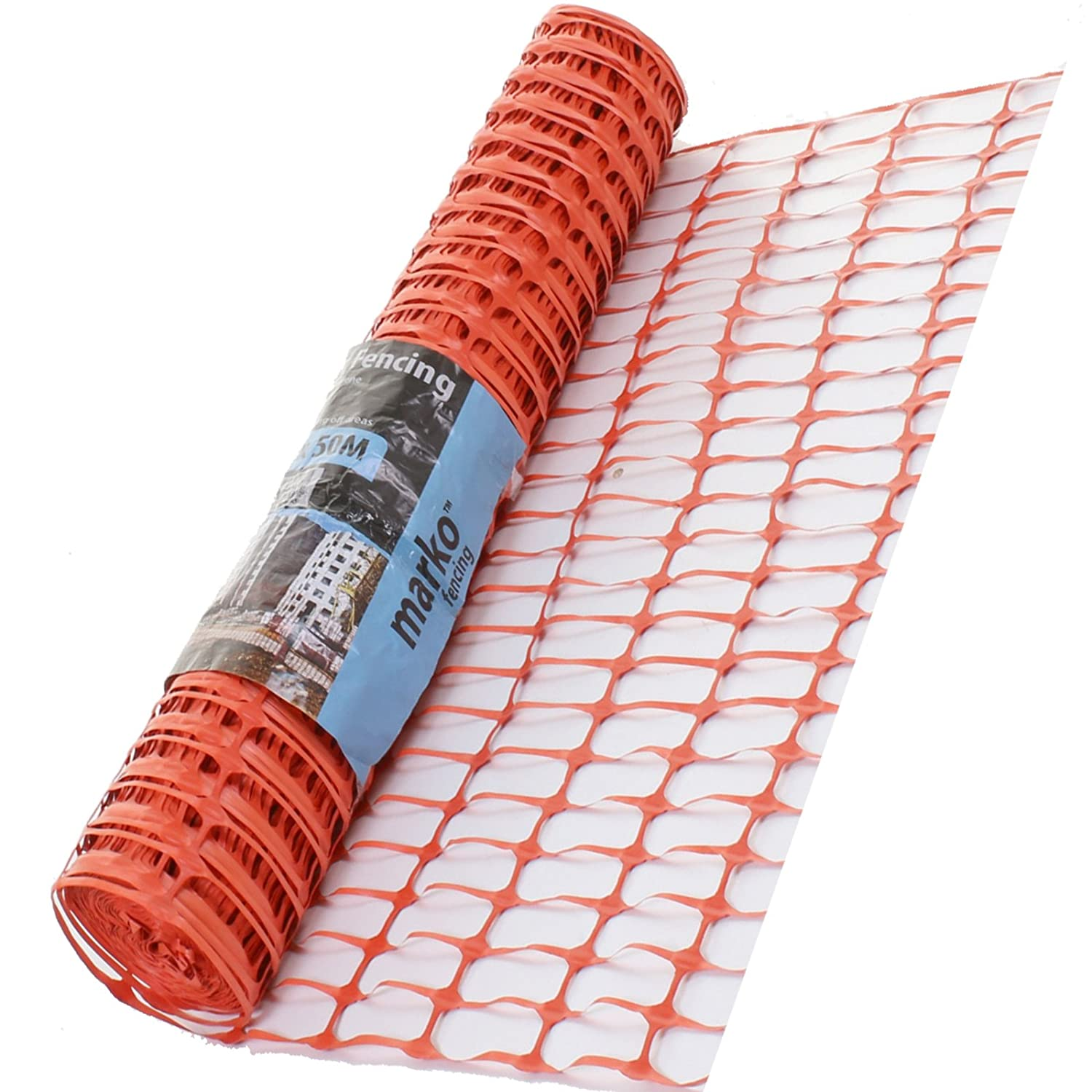 Marko Fencing Orange Plastic Barrier Fencing Mesh 1m x 50M Rolls Safety Sporting Safety (1)
