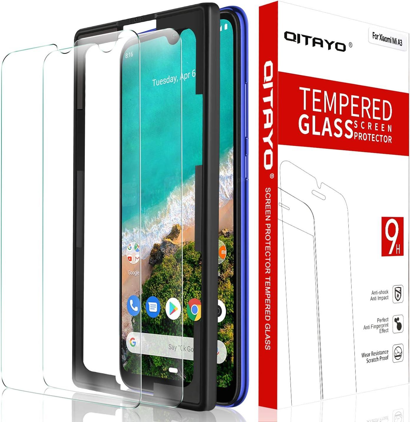 QITAYO Protector de Pantalla Xiaomi Mi A3, Dureza 9H,Fácil instalación, HD Clear,2 Unidades, Xiaomi Mi A3 Cristal Templado: Amazon.es: Electrónica