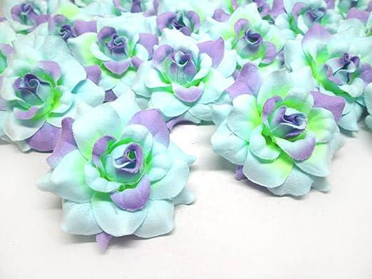 Amazon Com 100 Silk Blue Purple Roses Flower Head 1 75