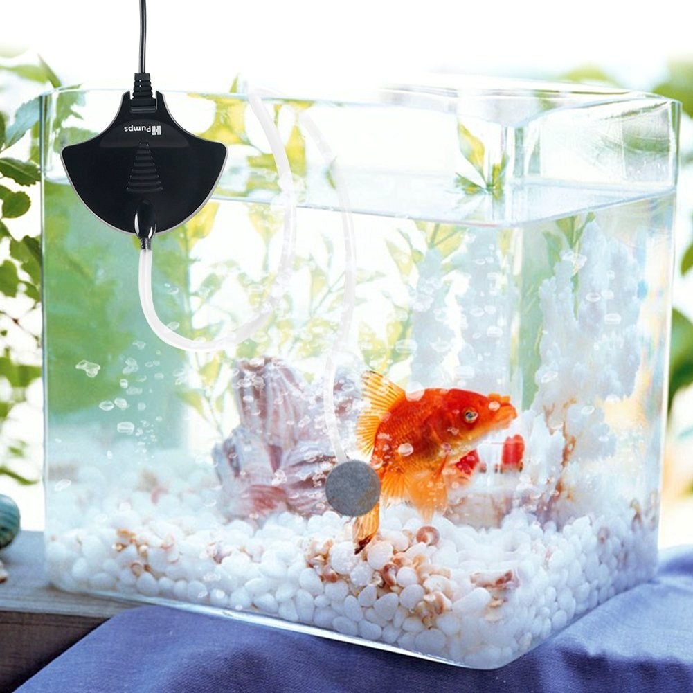 Aquarium Air Pump, JVSURF Mini Silent Oxygen Fish Tank Pump with Air Stone and Tube, Black