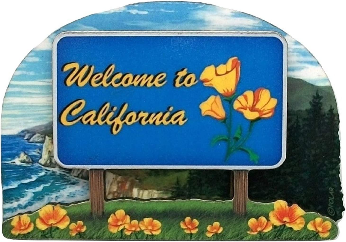 California State Welcome Sign Wood Fridge Magnet