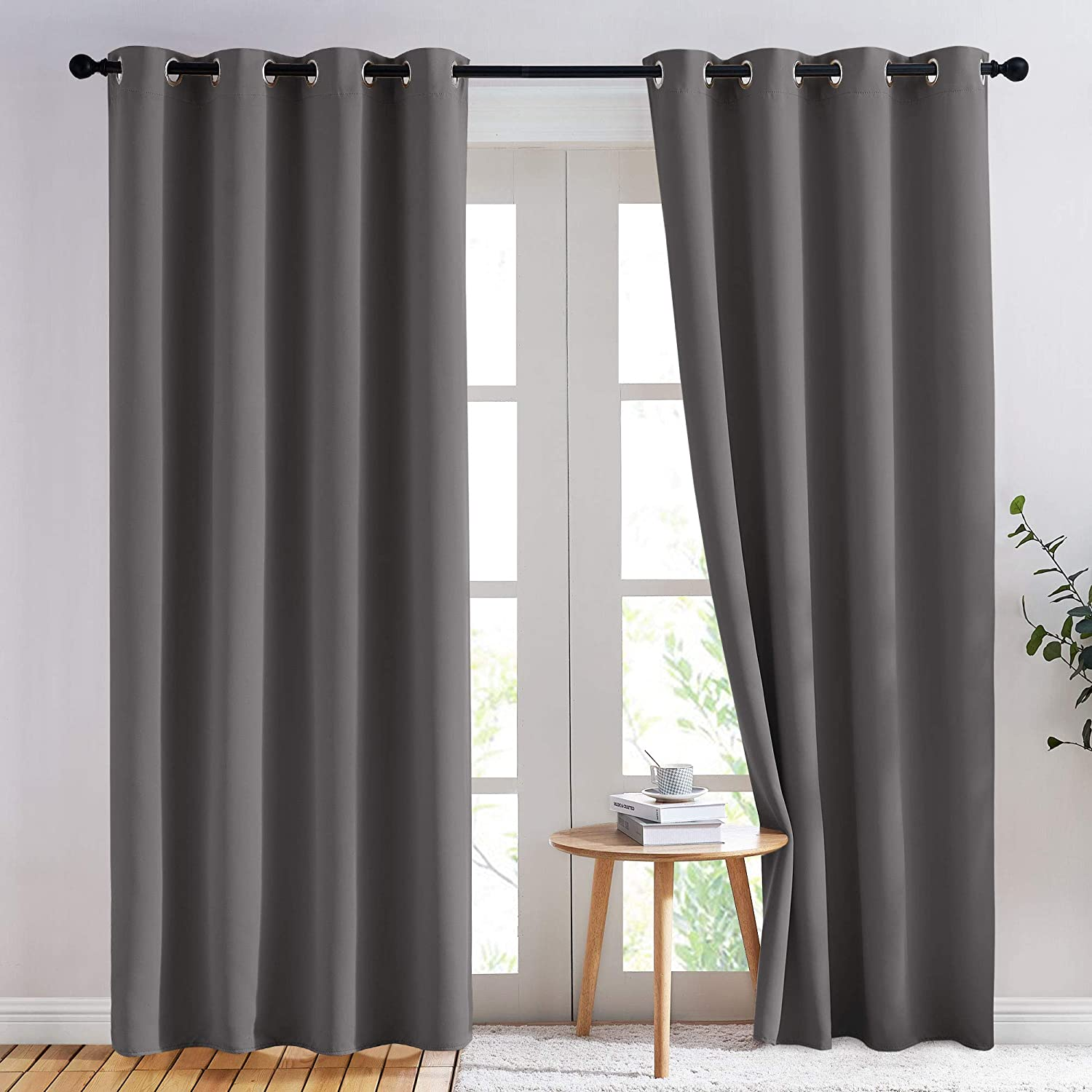 NICETOWN Blackout Curtains Panels for Bedroom - 3 Pass Microfiber Noise Reducing Thermal Insulated Solid Ring Top Blackout Window Drapes (2 Panels, 52 x 84...