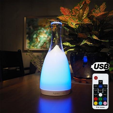 Aglaia - Lámpara LED recargable de cristal para mesita de noche - Luz blanca y RGB regulable con control táctil y mando a distancia para crear ...