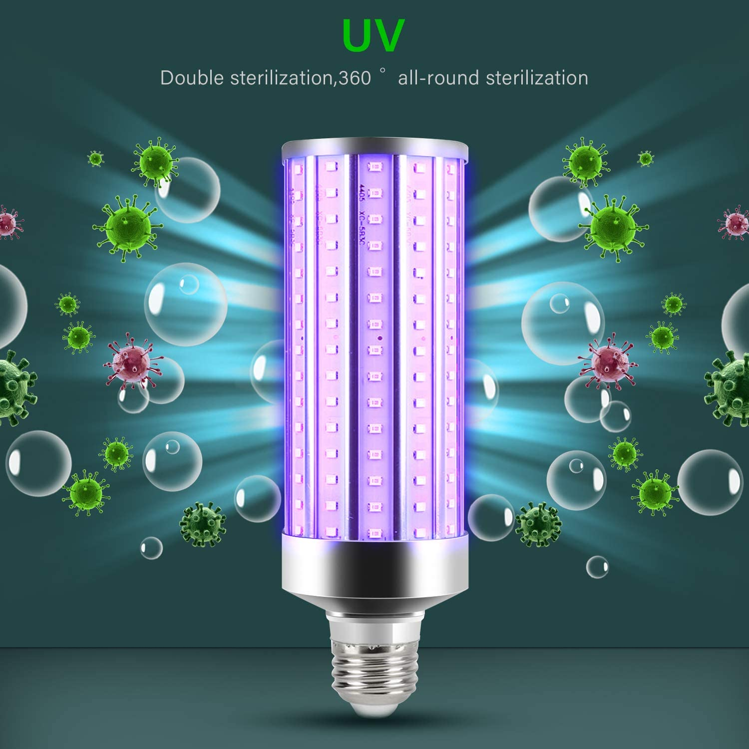 LECDDL The Latest 110V 50W E26 E27 Ultraviolet germicidal lamp Household Disinfection lamp with Remote Control Timer Ultraviolet germicidal lamp