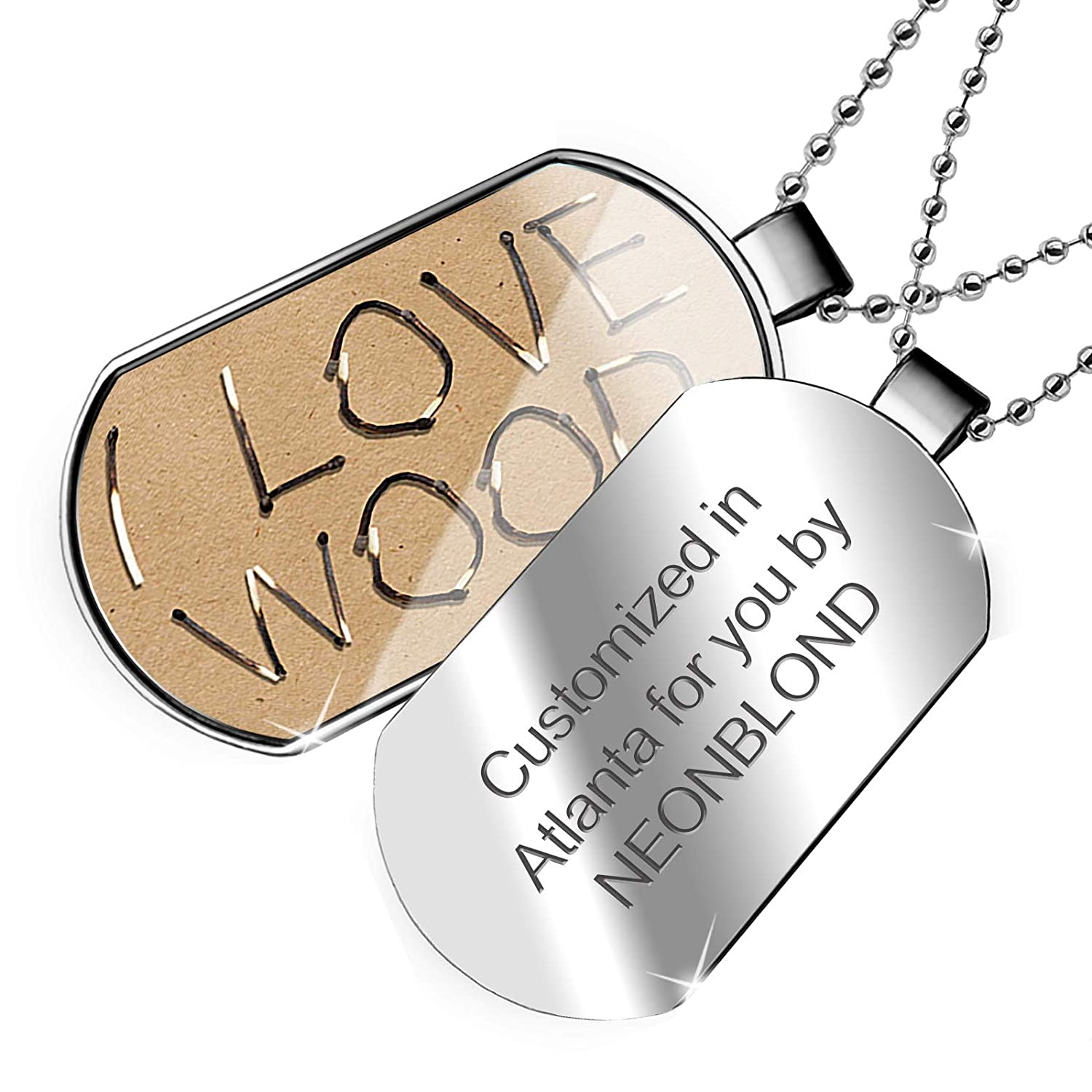 NEONBLOND Personalized Name Engraved I Love Corn Dogs Dogtag Necklace