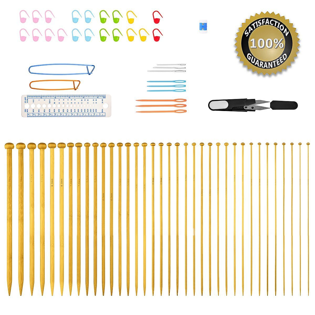 Knitting Needles, BCMrun 36PCS 25CM(9.84in) Bamboo Knitting Needles 18 Sizes from 2.0mm to 10.0mm with 34PCS Accessories