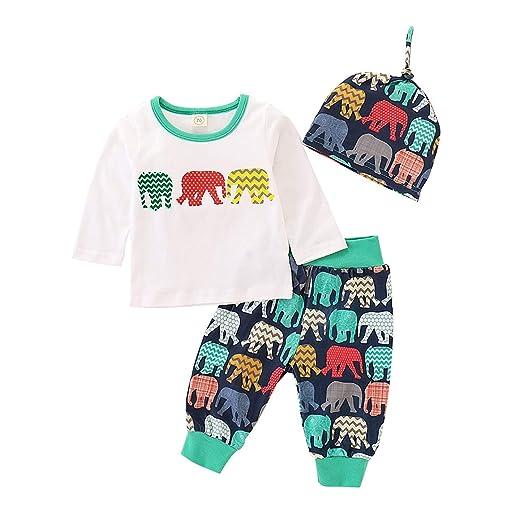 368e35f7dcf3f Amazon.com: Newborn Baby Boy Girl Clothes Long Sleeve T-Shirt Top + ...