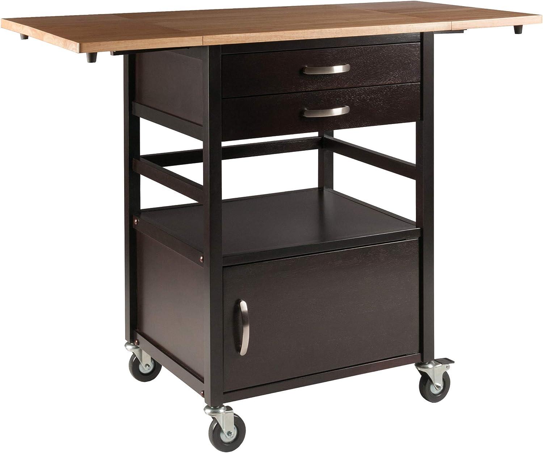 Amazon Com Winsome Bellini Kitchen Cart Black Kitchen Islands Carts