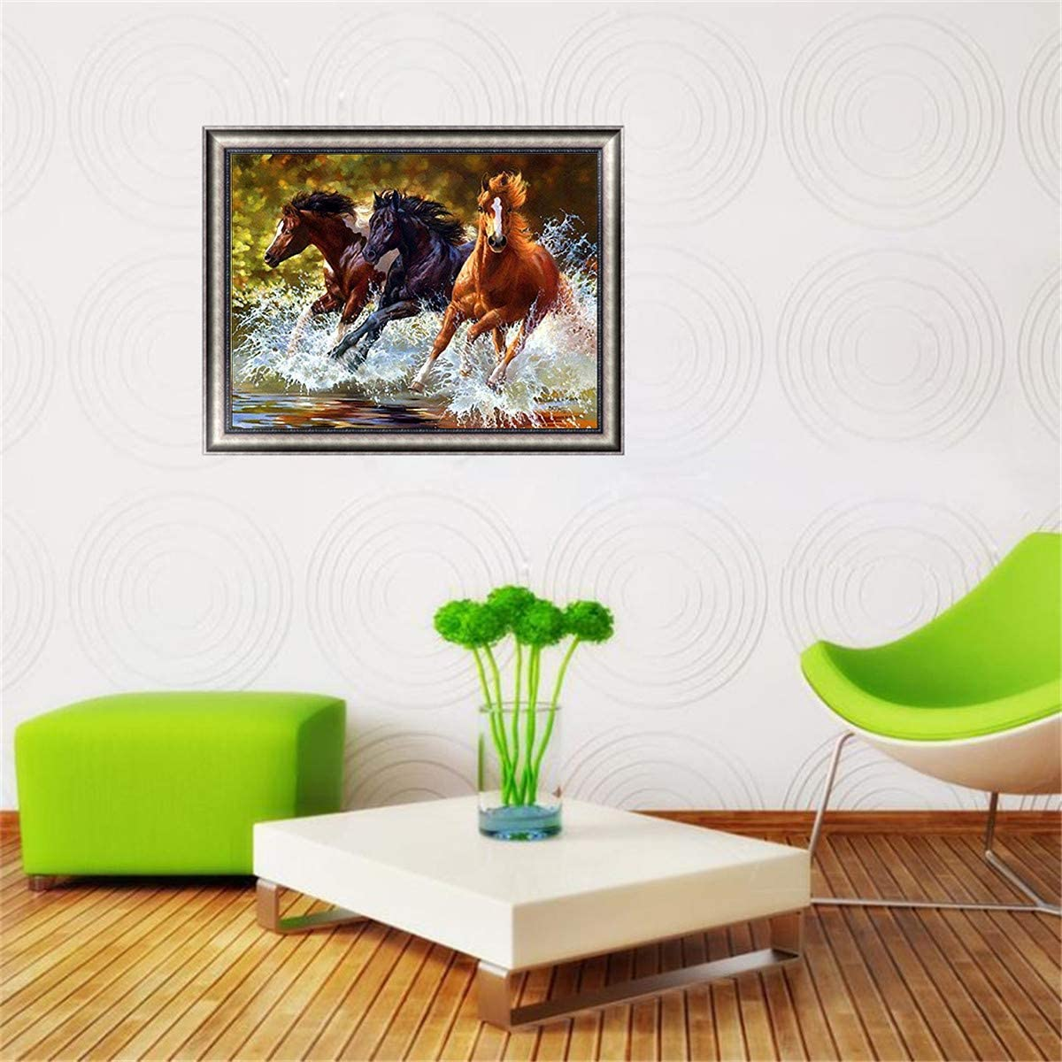 Embroidery Paint with Diamonds Wall Sticker for Home Decor Running Horses 10x12inch EOBROMD 5D Diamond Painting Full Drill