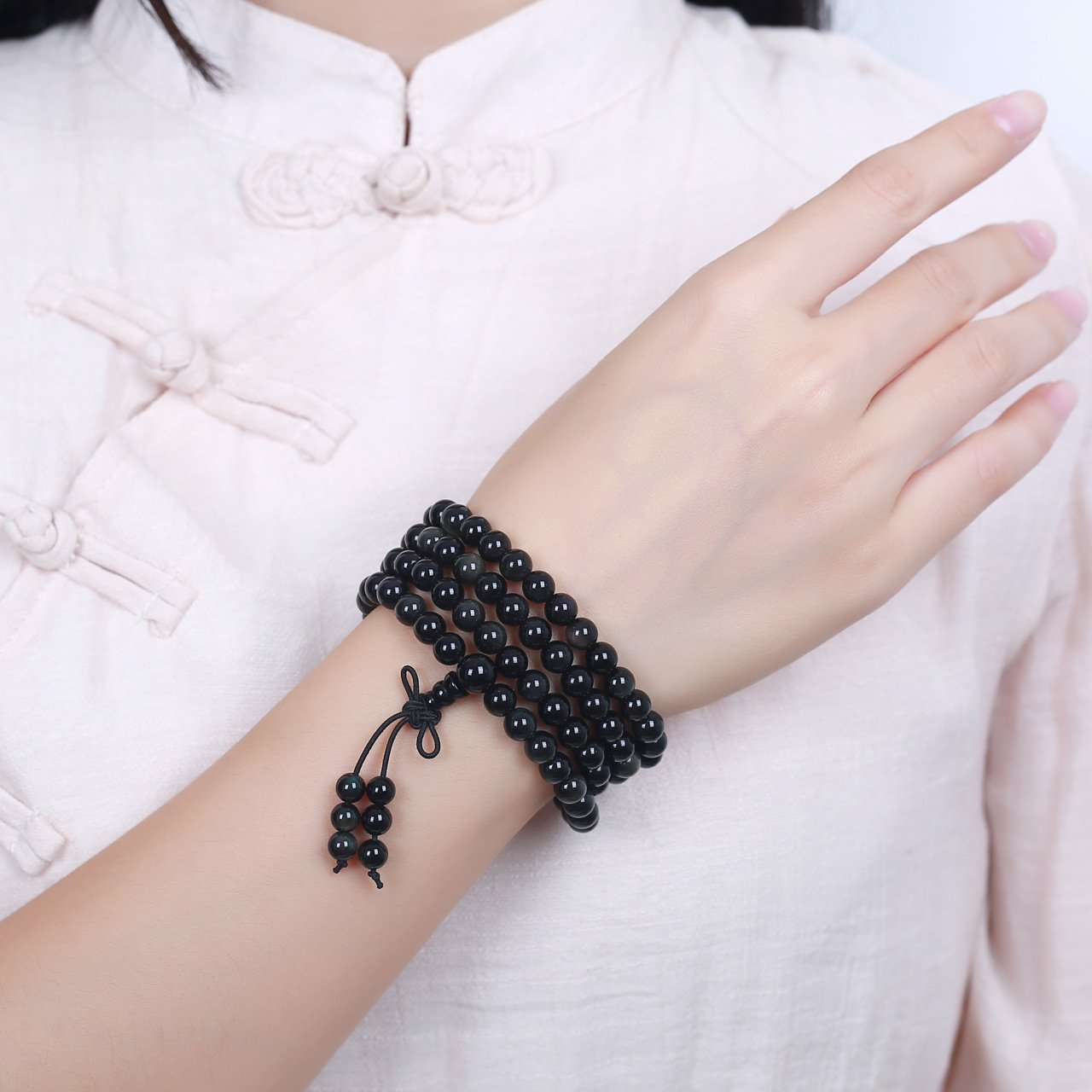 Master Obsidian Bracelet Natural 108pcs pray beads bracelet foe men or women