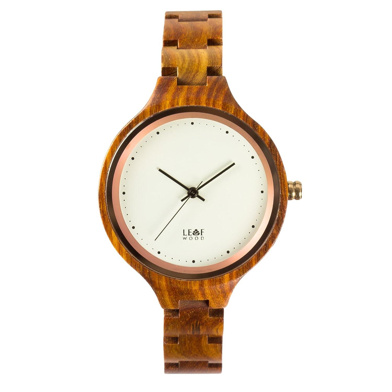 leafwood - die Virago - natur recyceltem rot Sandelholz Damen Holz Armbanduhr