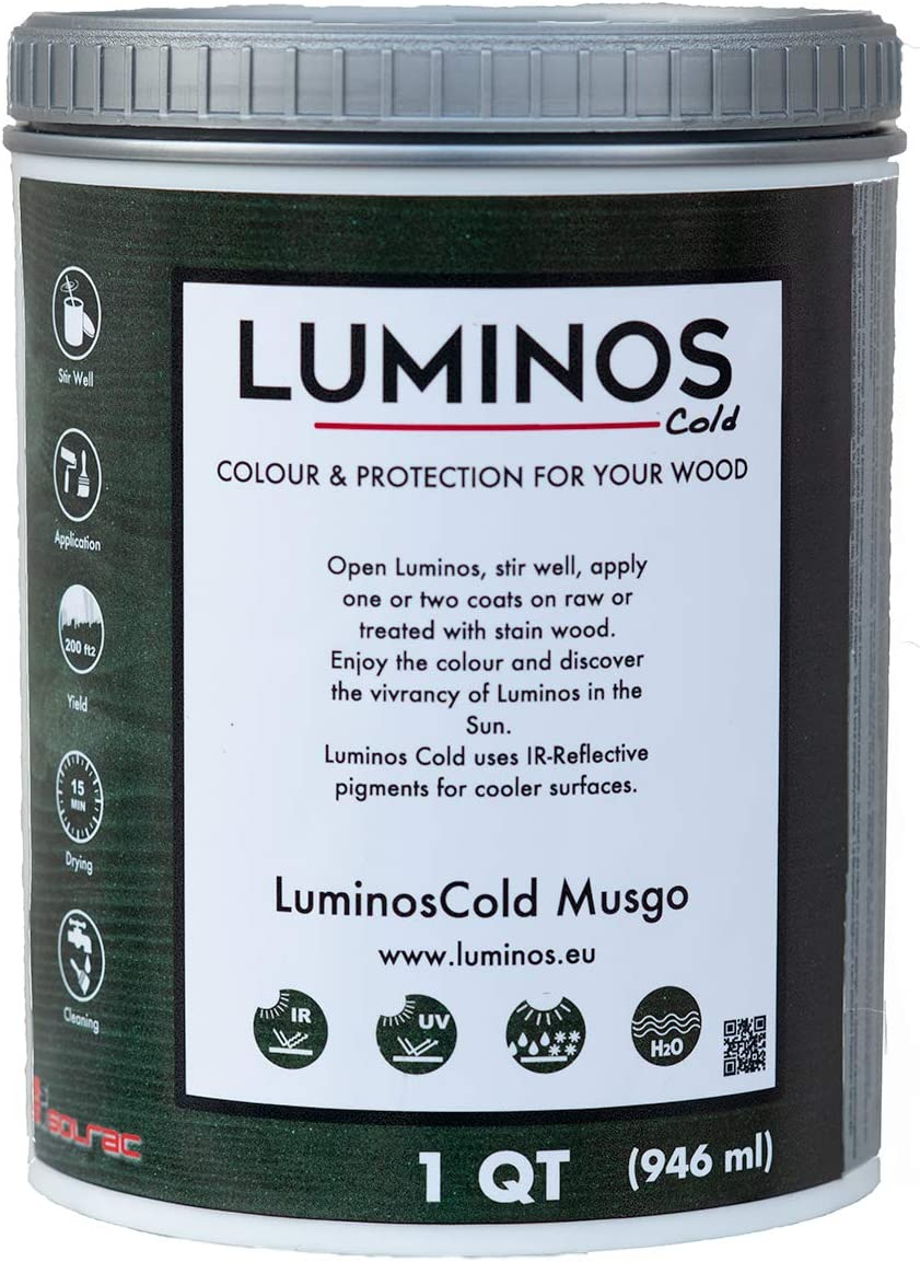 LuminosCold LUM1152 - Musgo - Outdoor Wood Stain Finish Protector IR Reflective - Color Green Moss - Quart (1 QT, Green)