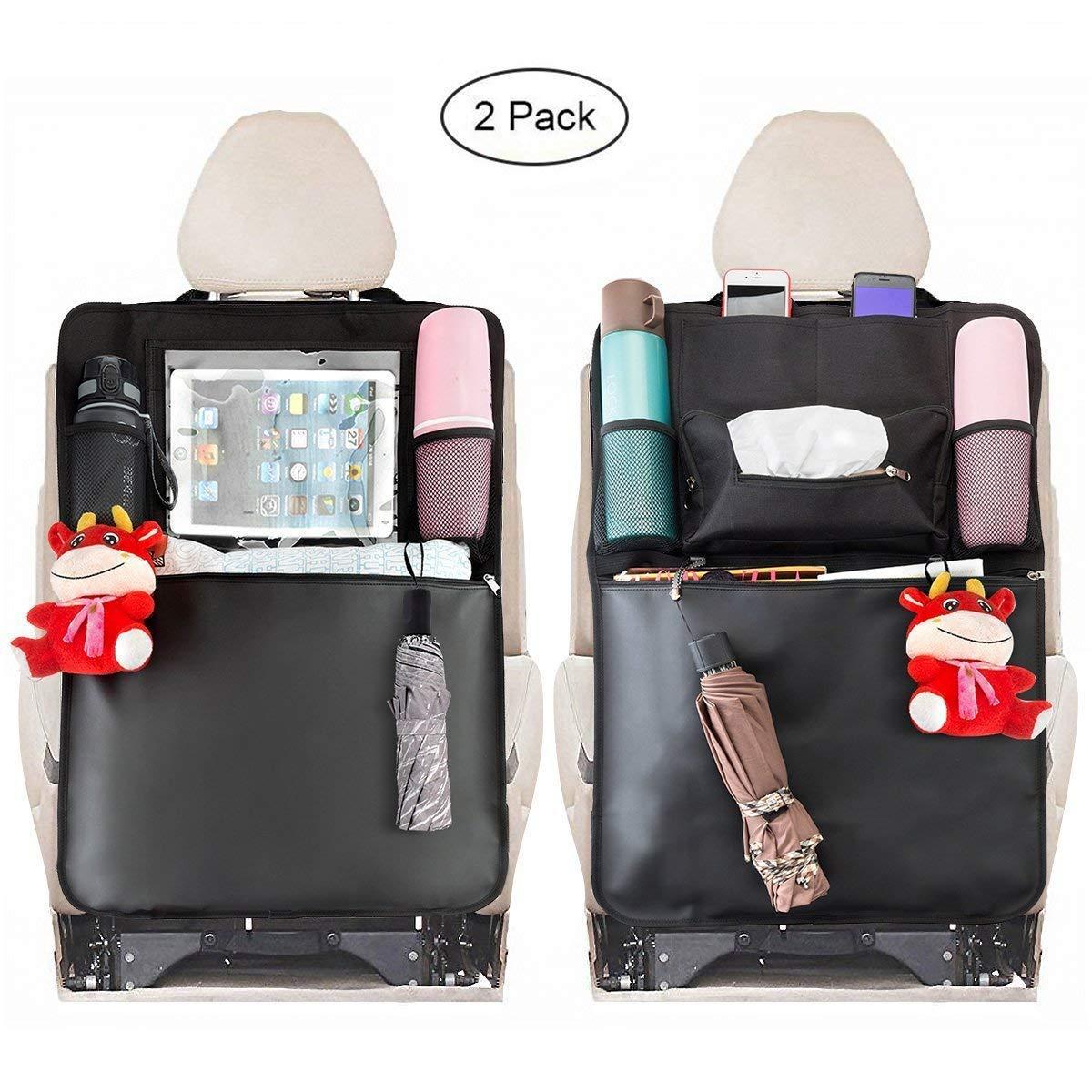 MATCC Protezione Sedile Auto Bambini Sedile Posteriore Impermeabile Auto Organizzatori con Multi-tasca e Pocket iPad 10.6'' Trasparente Accessorio per Viaggio per Auto, SUV, Camion (nero) MATCCwoitxol213