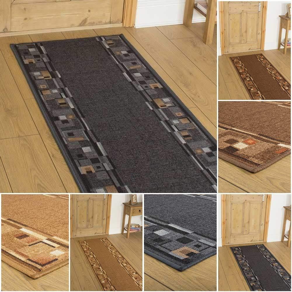 180cm x 60cm Brown Scroll CUSTOM LENGTH runrug UK Kitchen Hallway Long Carpet Rug Runner
