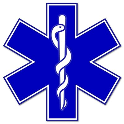 "Rogue River Tactical EMS EMT Star of Life Sticker Decal Blue Medical Paramedic Ambulance (5""): Automotive"