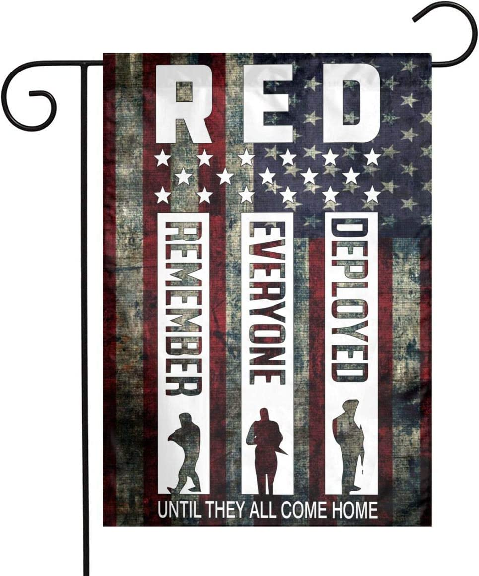 RED Friday Remember Everyone Deployed Garden Flag Welcome & Happy Birthday Flags For Celebration,Festival,Home,Outdoor,Garden Decorations 12 X 18 Inch