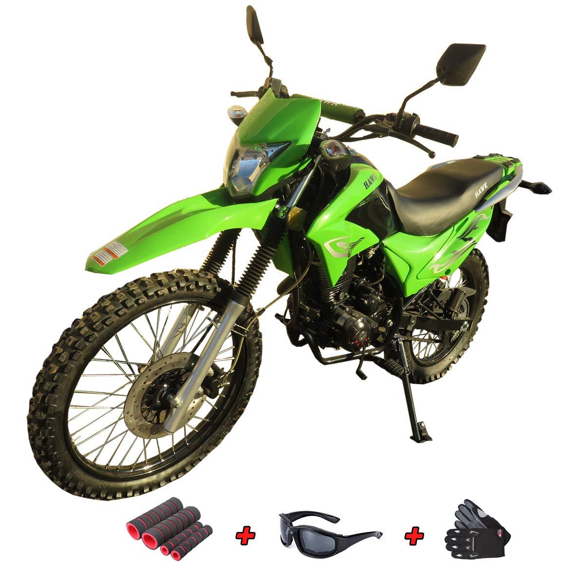 250cc Dirt Bike Hawk 250 Enduro Street Bike Motorcycle Bike with Gloves, Sunglasses and Handgrip (Green)