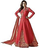 Ethnic Empire Women's Taffeta Silk Semi Stitched Anarkali Salwar Suits (Eed-Ea10754_Red_Free Size)