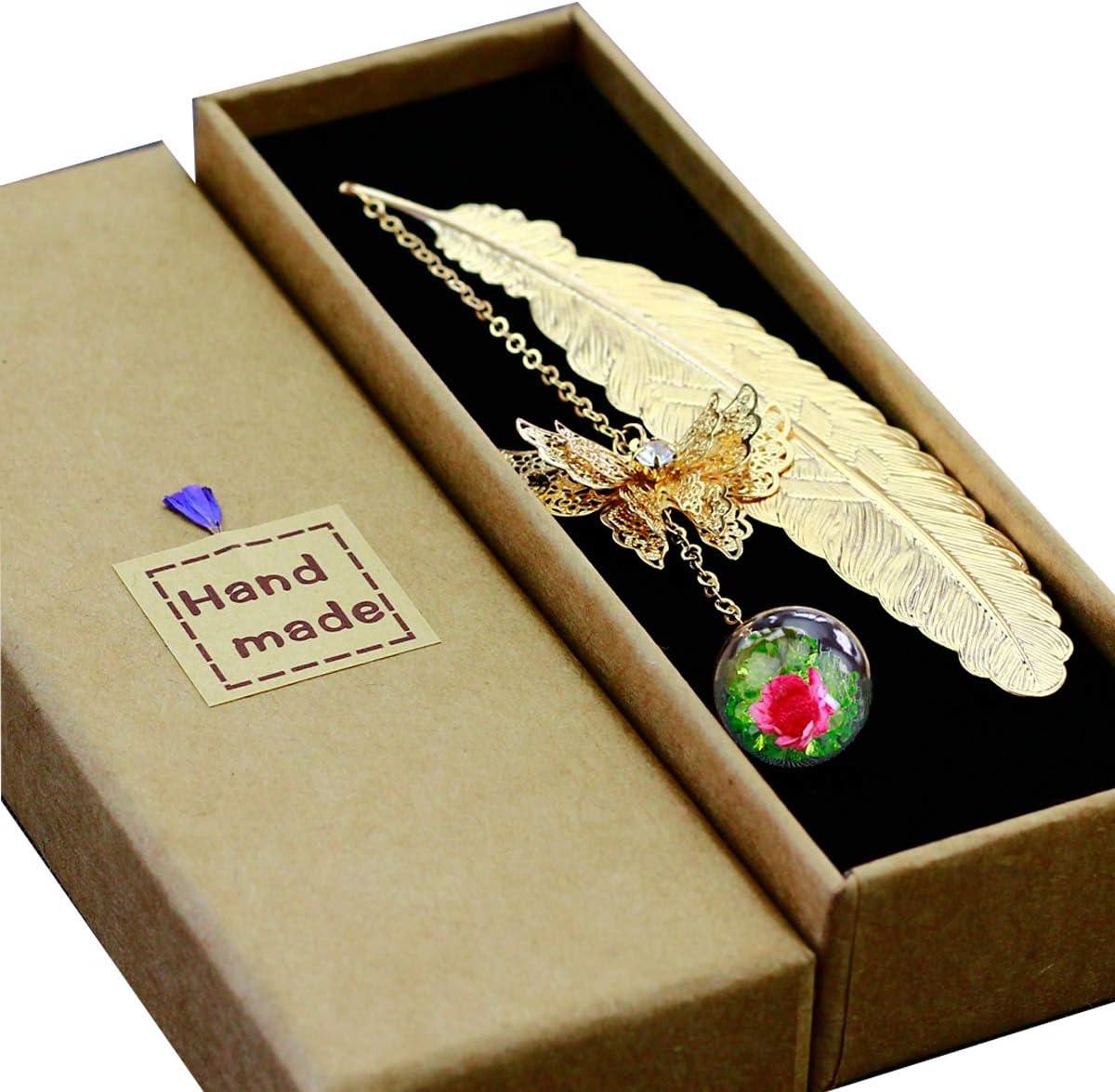 Toirxarn Marcapáginas de plumas de metal, con mariposa 3D y perlas de vidrio Colgante de flor seca eterna. Regalo ideal para lectores, mujeres y niños.