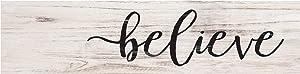 P. Graham Dunn Believe Black Script Whitewash Christmas 6 x 1.5 Mini Pine Wood Tabletop Sign Plaque