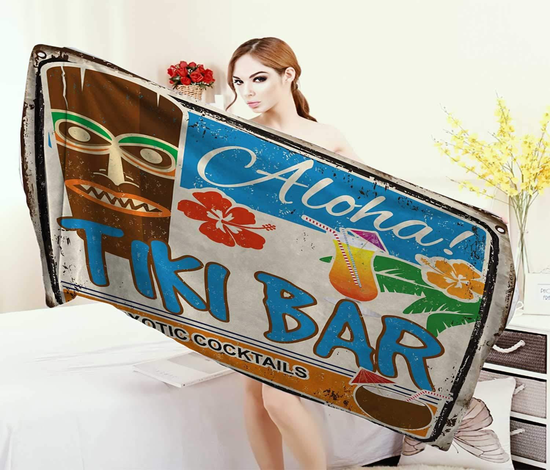 Anniutwo Tiki Bar、タオル、ラスティ ビンテージ サイン アロハエキゾチック カクテル ココナッツドリンク アンティーク ノスタルジック、速乾プリントマイクロファイバー、マルチカラー、サイズ:幅25.4㎝×長さ25.4㎝ W 10