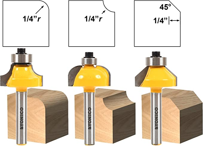 Yonico 13311q 3//8 3 Bit Edge Forming Router Bit Set with 1//4 Shank