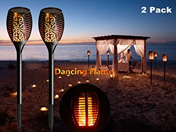Solar Lights, LED Flickering Realistic Flames Torches Lights, Outdoor  Landscape Decoration LED Lamp Dusk