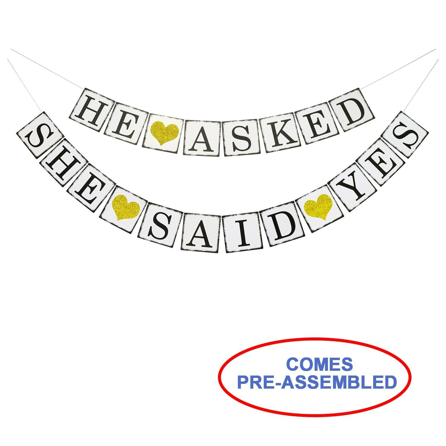 He Asked She Said Yes Gold Glitter Banner - Engagement Bridal Shower Party Decorations - Photo Props Signs