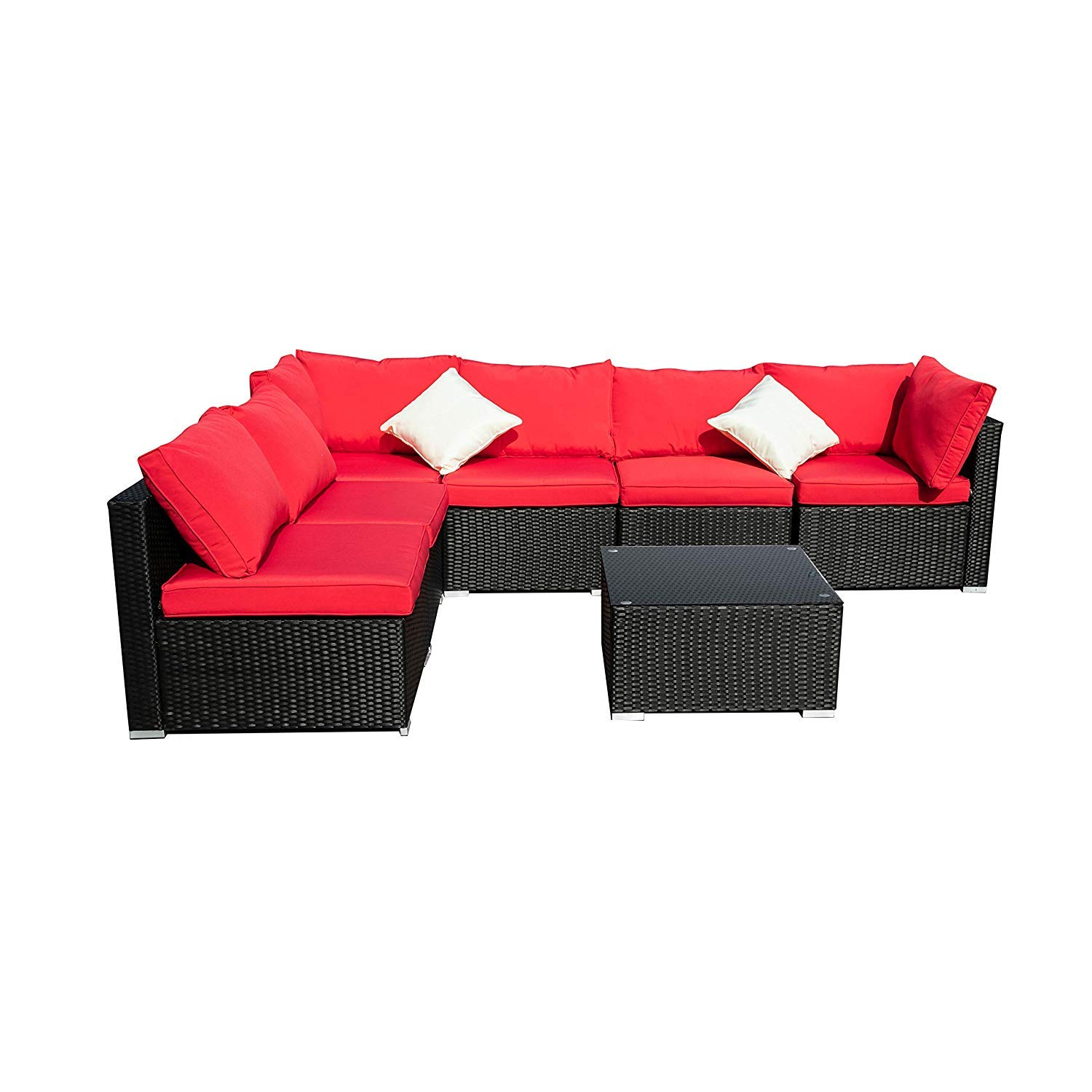 DOIT Outdoor Rattan Patio Garden Sofa,Wicker Patio Sectional Furniture Sofa Outside,Party Sofa Conversation Set with Cushions and Glass Coffee Table 7 Pcs Wicker Sofa Sets Red