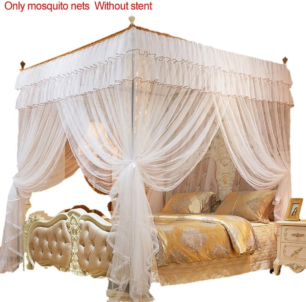 Sundlight 4 Posters Mosquito Net Pink Bed Canopy Princess Queen Mosquito Bedding Net Bed Tent Four Corners Floor-Length Curtains