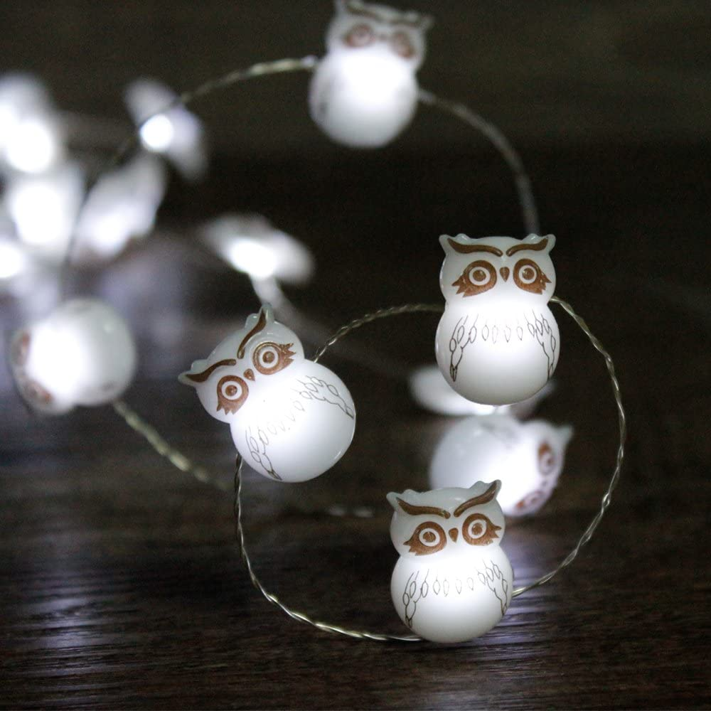 IMPRESS LIFE Halloween String Lights Decorations, Owl Snow Bird 10 ft Silver Wire 40 LED Battery Operated with Remote for Outdoor Indoor, Christmas Tree Party Haunted Spooky Lights