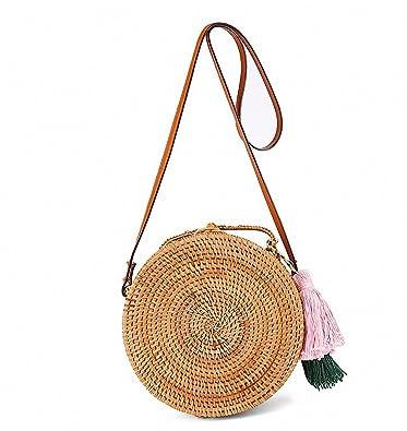Amazon.com: Borla de viaje playa círculo bolsas de paja ...