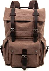 c9402a36d11e Travel Log Flint Backpack Genuine Canvas and Leather Backpack