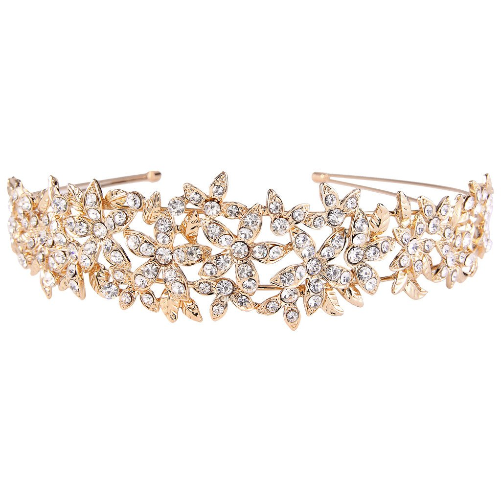 EVER FAITH Women's Austrian Crystal Wedding Flower Cluster Hair Band Clear Gold-Tone