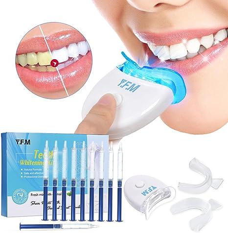 Y.F.M Kit de Blanqueamiento de Dientes Profesional en Casa Juego de Blanqueamiento Dental 10 x Gel Blanqueador 2 x Bandeja para Gel y Luz Láser: Amazon.es: Salud y cuidado personal