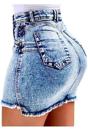 Zilcremo Mini Falda De Jean De Cintura Alta con Flecos Bodycon ...