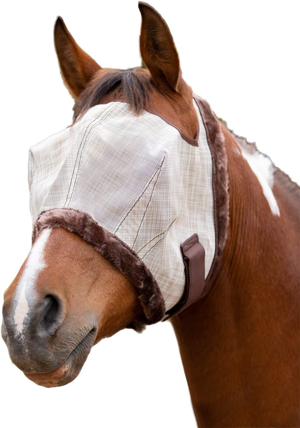 Kensington Fly Mask with Fleece Trim for Horses /— Protects Face and Eyes From Flies and UV Rays While Allowing Full Visibility /—  Breathable and Non Heat Transferring Makes it Perfect Year Round