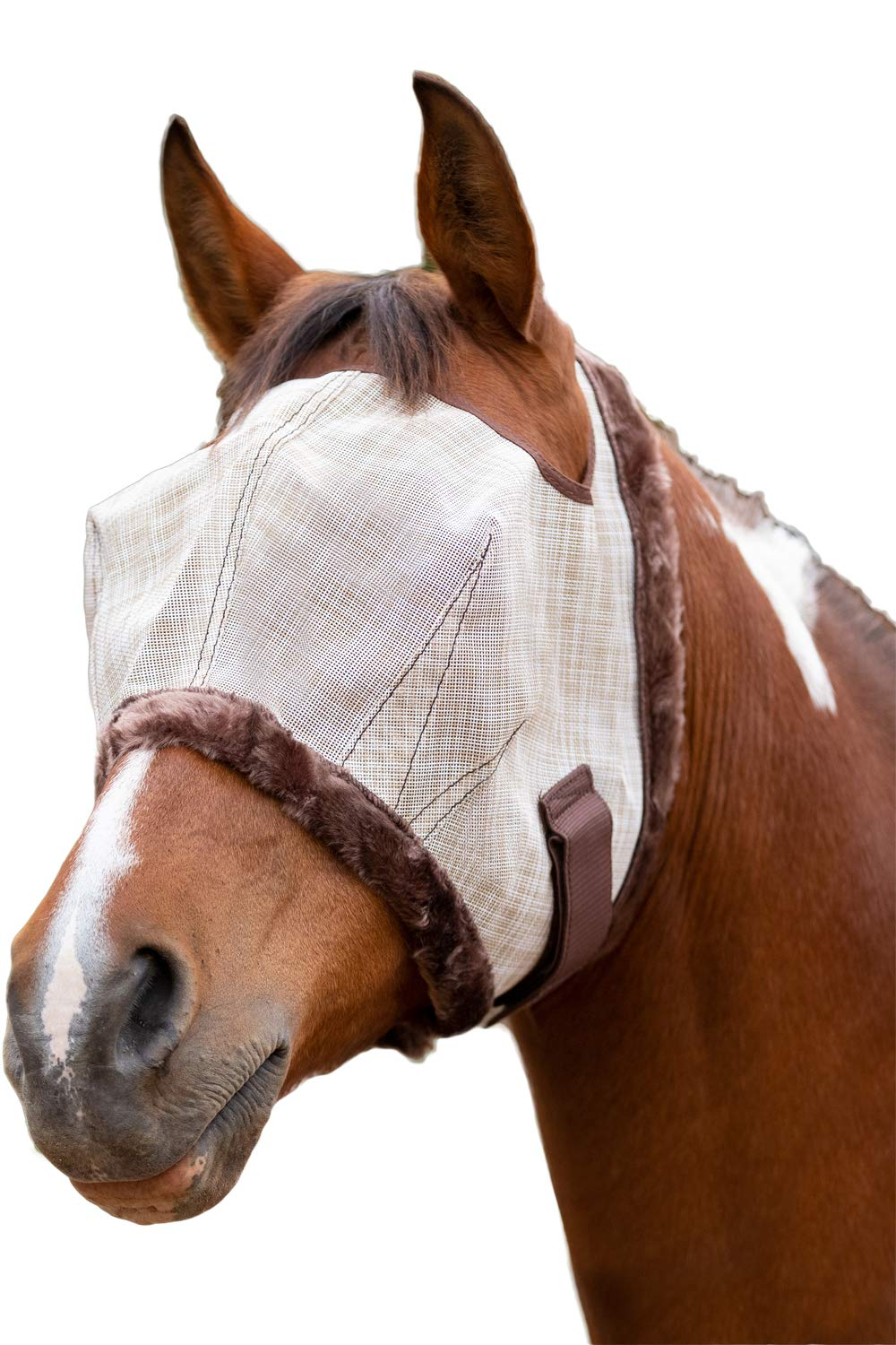 Kensington Fly Mask Fleece Trim for Horses - Protects Face, Eyes from Flies, UV Rays While Allowing Full Visibility - Breathable Non Heat Transferring, Perfect Year Round, (L, Grey) by Kensington Protective Products