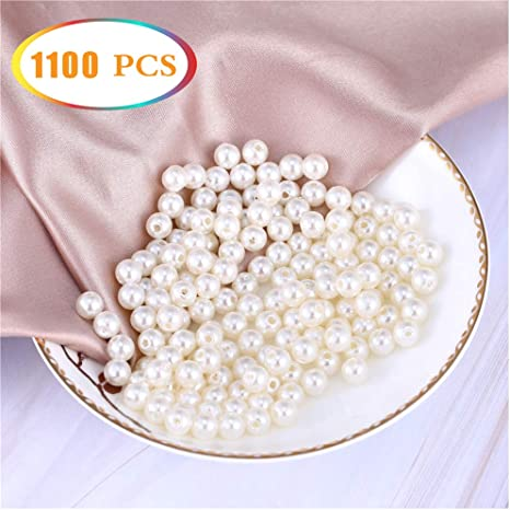 Round Plastic Pearl Spacer Loose Bead for Jewelry Making DIY Craft Beige