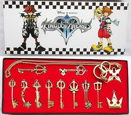 Amazon kingdom keys hearts keyblade pendant necklace set kingdom keys hearts keyblade pendant necklace set cosplay accessories 12pcs golden aloadofball Image collections