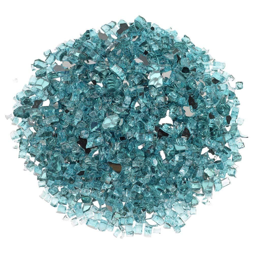 Blazing Fireglass 20-Pound Reflective Fire Glass with Fireplace Glass and Fire Pit Glass, 1/4-Inch, Azuria Blue