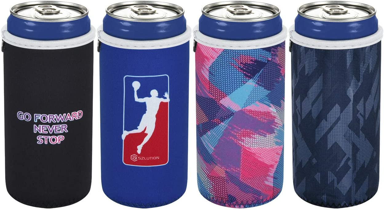 4 Pack Beer Can Coolers Sleeve Neoprene Beer Bottle can Holder Cover Slim Sleeves Skinny Can Coolie fits 12 OZ Slim Drink Cans Hide a Beer Can Cover(Never Stop)