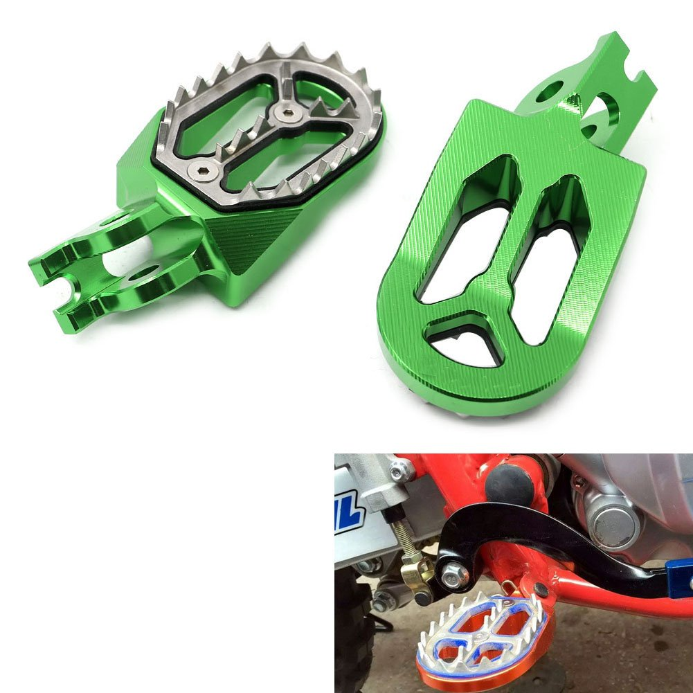 Alpha Rider Motorcycle Billet CNC Wide Foot Pegs Pedals Foot Rests for Kawasaki KX250 2005-2008 | KX250F 2005-2015 | KX450F 2007-2015 | KLX450 2008-2015 Green Motofans