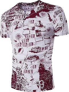 T-Shirt Home Maglietta a Maniche Corte in Lino Stampato con Maniche Corte per Uomo (Color : Navy Blue, Size : US-Small)