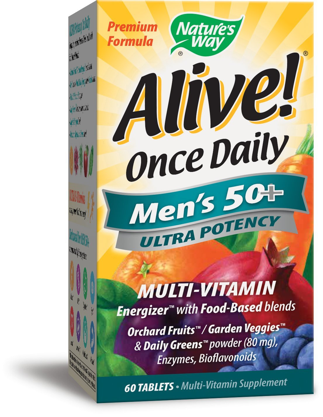 Nature's Way Alive Once Daily Men's 50 Plus Multi Ultra Potency Tablets, 60 Count