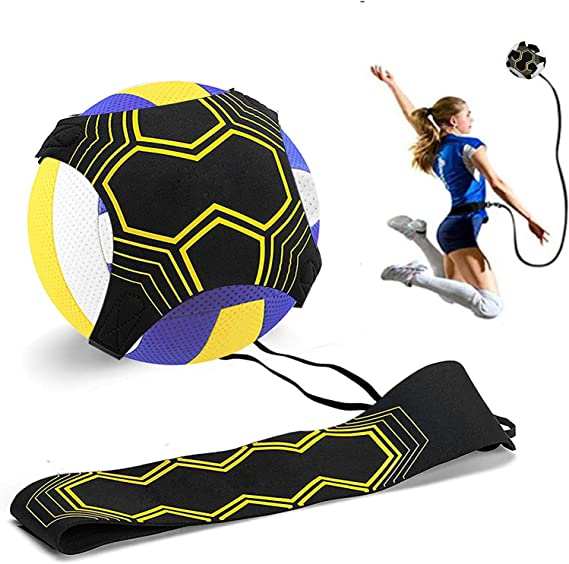 Volleyball Training Aid Soccer Practice Trainer with Adjustable Belt for Serving Setting Spiking Training Volleyball Training Equipment Aid for Beginners and Volleyball Player with 10 Finger Sleeves