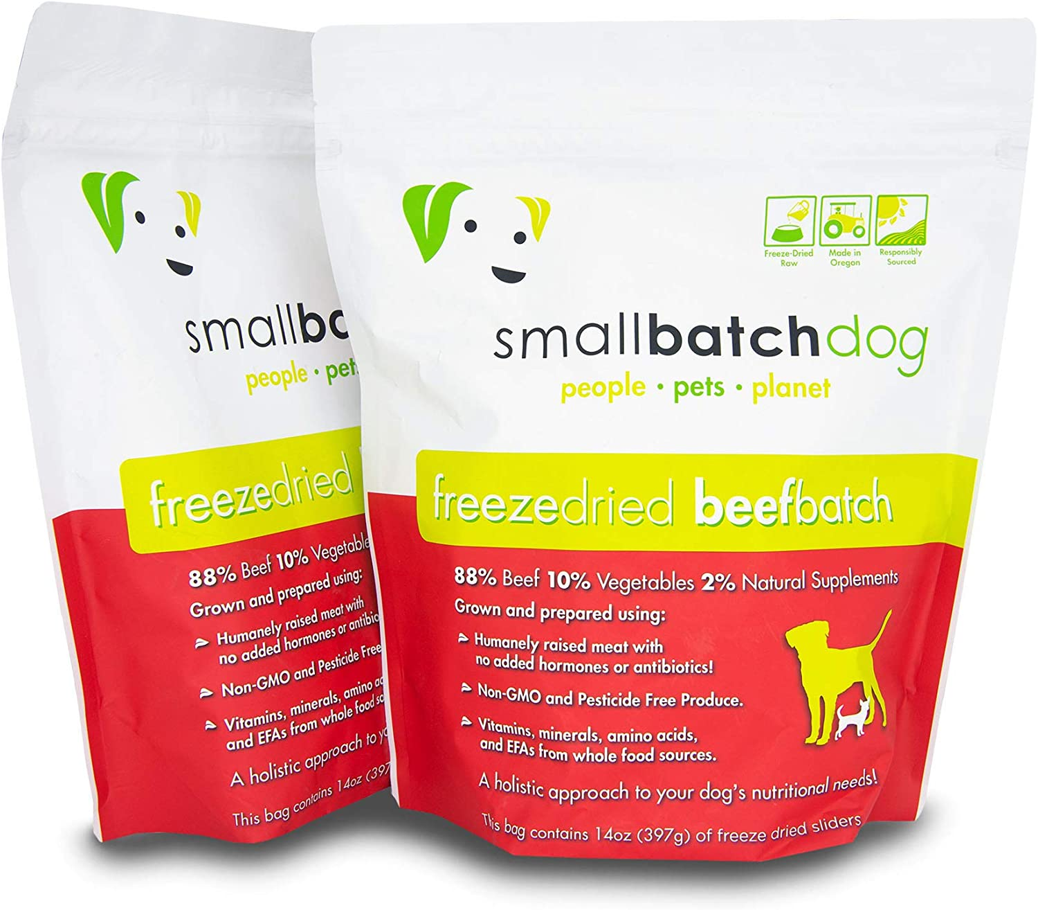 Smallbatch Pets Freeze-Dried Premium Raw Food Diet for Dogs, 2-Pack, Beef Recipe, 14 oz in Each Bag (28 oz Total), Made in The USA, Organic Produce, Humanely Raised Meat, Hydrate and Serve Patties